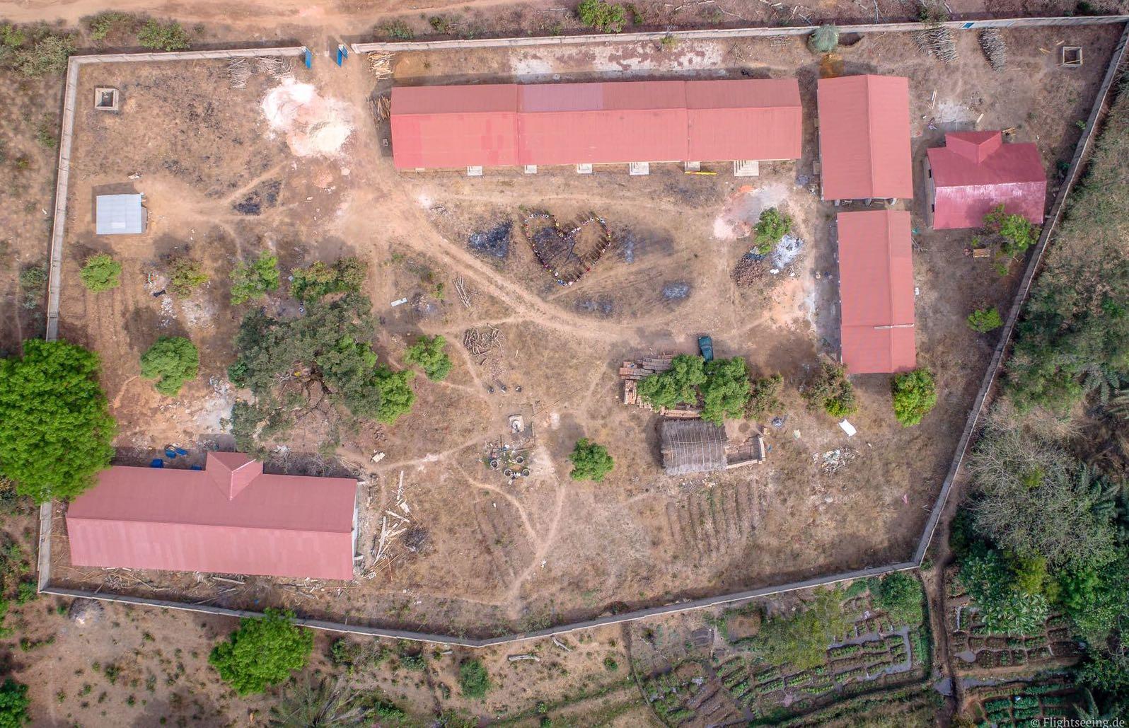 Luftbild der Berufsschule während der Bauphase, Februar 2017